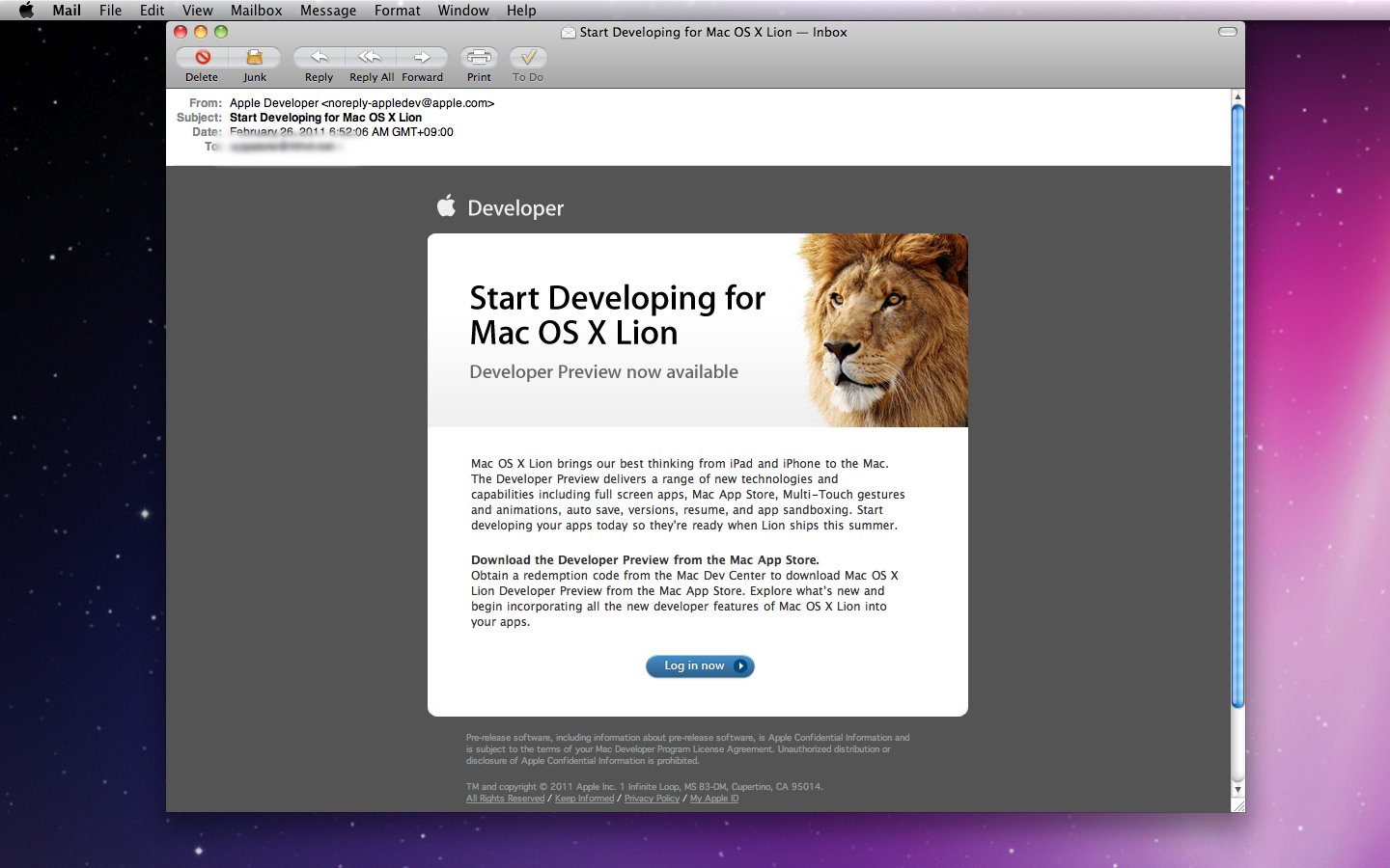 Mac OS X Lion Developer Preview