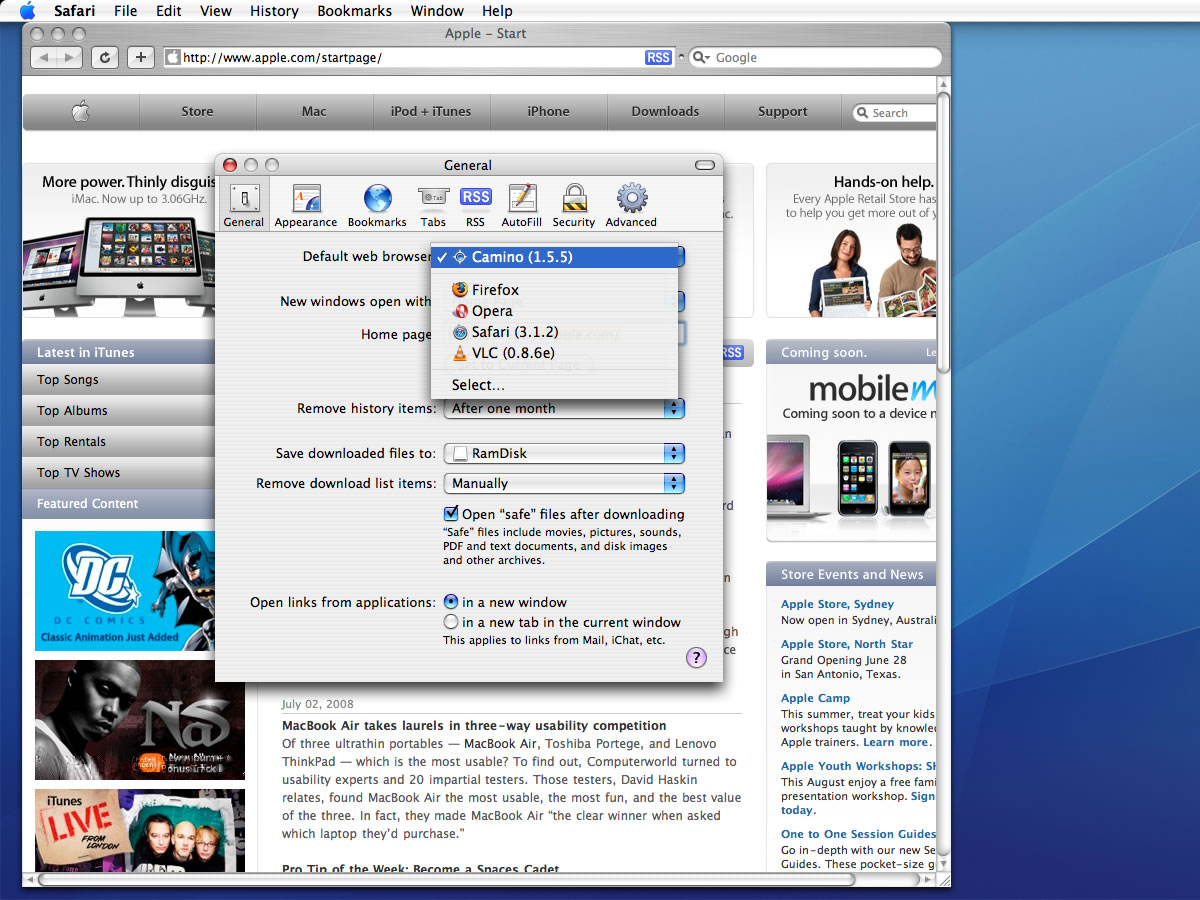 how to change default web browser from mac mail