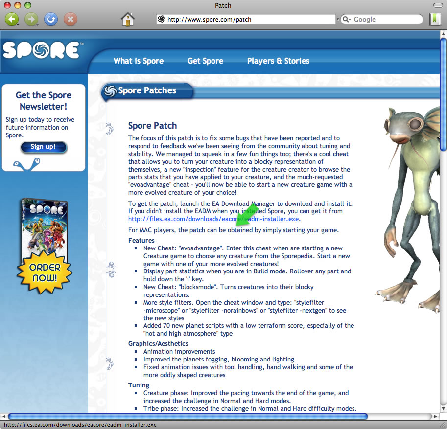 Mac PC game SPORE