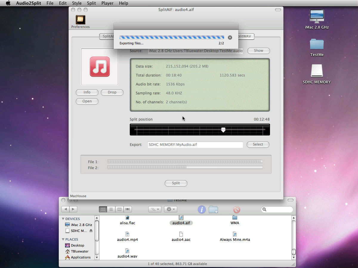 Mac software Audio2Split