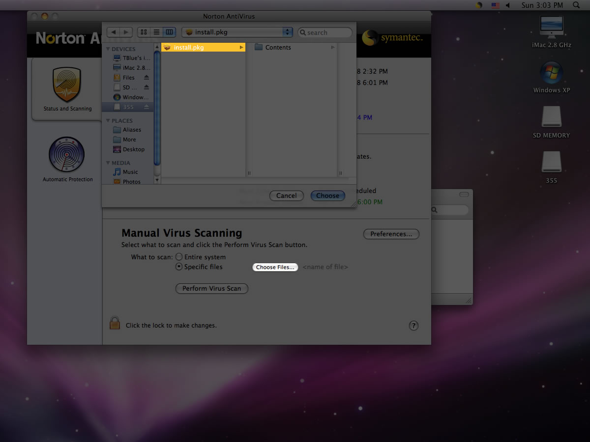 ClamXav free virus checker for Mac OS X