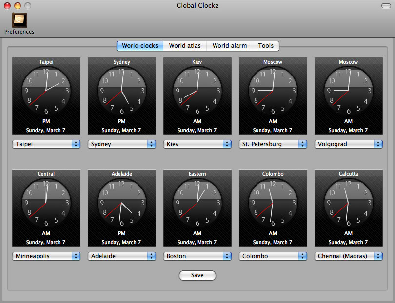 Mac software GlobalClockz